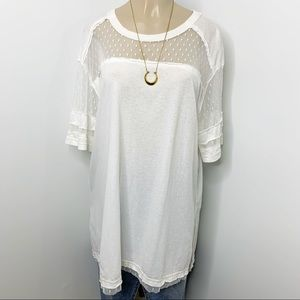 WE THE FREE Cream Oversized Short Sleeve Top Lace
